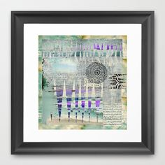 Blue Grey Abstract Art Collage Framed Art Print by Sheree Joy Burlington - $35.00