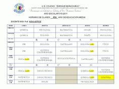 U.E. COLEGIO ENRIQUE MARÍA DUBUC: HORARIO DE CLASES DE 4º AÑO DE EDUCACIÓN MEDIA GENERAL
