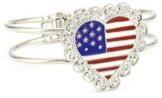 1928 Jewelry Made in America Scalloped Heart USA Flag Bracelet - 1928, America, bracelet, Flag, Heart, Jewelry, Made, Scalloped http://designerjewelrygalleria.com/1928-jewelry/1928-bracelets/1928-jewelry-made-in-america-scalloped-heart-usa-flag-bracelet/