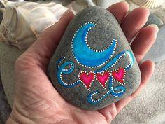 Painted rock / Love you to the moon / Sandi Pike Foundas / love from Cape Cod / sea stone / beach stone/ blue moon