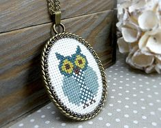 Blue Owl Cross Stitch Pendant Necklace, Cross Stitch Jewelry, Blue Textile Necklace, Embroidered Necklace, Woodland Jewelry, Owl Necklace