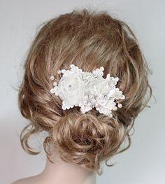 Ivory Bridal Hair Comb Ivory Clip Rhinestone& by BrassBoheme, $64.00