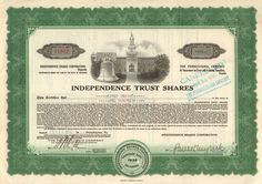 Great Depression era stock certificate from the Independence Trust Shares, dated Nice Liberty Bell and Independence Hall scene. Money Frame, Common Stock, Independence Hall, Retro Vector, Great Depression, Thirty One, Vignettes, Certificate, Bond