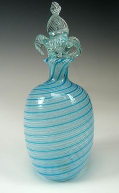 Murano Glass Perfume Bottle Blue Swirl Pattern by CurioFinds
