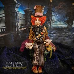Mad Hatter - Art Doll - Alice In Wonderland - Fantasy Doll - Polymer Clay Doll - Hatter Art Doll - Fantasy - OOAK Doll - Mad Hatter Doll - by RustyDolls on Etsy Polymer Clay Dolls, Witch Art, Creative Artwork, Fairy Dolls, Ooak Dolls, Alice In Wonderland, Fantasy, Mad, Painting