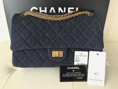 260974fa8789 16P CHANEL 2.55 LARGE 226 REISSUE DARK BLUE NAVY DENIM QUILTED GOLD HW FLAP  BAG #