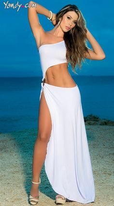 This slinky asymmetrical cover-up and beach dress bares your midriff and is cinched at the side with a wood look ring. The one-shoulder style has a maxi hemline with a single side slit all the way to the hip. Available in Black or White. Beach Dresses, Club Dresses, Sexy Dresses, Summer Dresses, Dress Beach, Sexy Party Dress, Hot Dress, Sexy Outfits, Vestidos Sexy