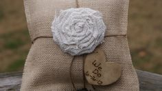 "love love!!  Rustic ""shabby chic"" ring bearer pilow !! wonder if i can turn it into a DIY project..."