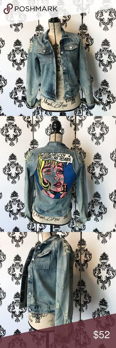 """NWT! 🍀 RARE! Retro Distressed Comic Jean Jacket! This jacket is so cool and stylish the the distressed look throughout and the super cool Comic book character on the back with the words """"The Melody Haunts My Reverie"""" which is a 1965 screen printing by Roy Lichtenstein, referring to the 1927 song """"Stardust"""" by Hoagy Carmichael, also sung by Nat King Cole! Very iconic and a very cool piece to have! Brand new with tags! Smoke free home. Jackets & Coats Jean Jackets"""