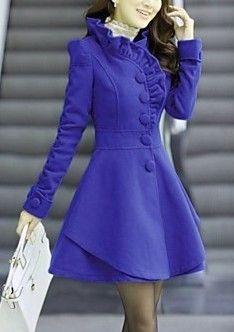 Color Cowl Neck Tweed Long Coat