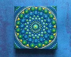 Original Hand Painted Acrylic Mandala Painting w/Easel