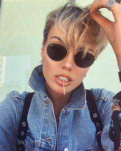 Wallis Day wearing RayBan Round Metal sunglasses by Yeah Sunglasses! Ray Ban Round Sunglasses, Sunglasses Women, Short Hair Cuts, Short Hair Styles, Round Ray Bans, Hello Ladies, Fashion Today, Unisex, Hair Beauty