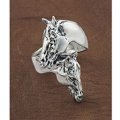 Sterling Horse Heads Wrap Ring - Western Wear, Equestrian Inspired Clothing, Jewelry, Home Décor, Gifts
