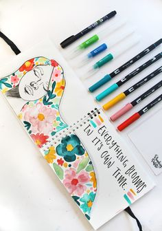 4 Tips for Water Brushes + Floral Art Journal Page, Brush Pen Art, Watercolor Brush Pen, Watercolor Journal, Water Brush Pen, Tombow Dual Brush Pen, Bullet Journal Art, Bullet Journal Ideas Pages, Art Journal Pages, Art Journaling