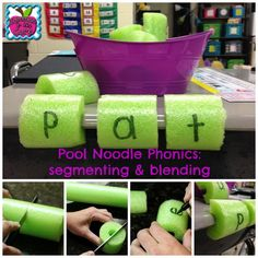 Common to the Core- Pool Noodle Phonics: Decoding Matters - Use a different color for the vowels Phonics Activities, Reading Activities, Teaching Reading, Teaching Ideas, Teaching Phonics, Reading Fluency, Reading Intervention, Kindergarten Literacy, Early Literacy