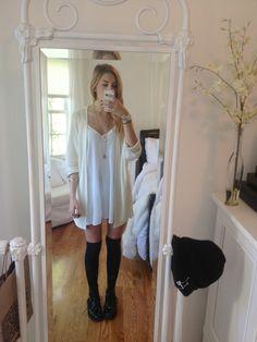 White mini dress, white cardigan, black knee highs, black shoes