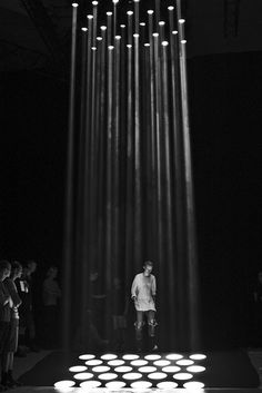 Rick Owens Show; lighting, shadow, dramatic, casual form -I know some people have mentioned that projections/lights on the stage may be a little distracting, but this is simple yet looks great.