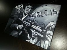 My own rendition of Scarface on cotton canvas! By Mark Bernard