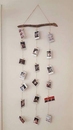 Twine driftwood pegs Polaroid - Someday - Home decor interests Diy Wall Decor For Bedroom, Photo Wall Decor, Bedroom Decor For Couples, Cute Room Decor, Bedroom Wall, Diy Bedroom, Trendy Bedroom, Home Decor, Polaroid Wand