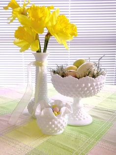 Milk glass used for Easter decor