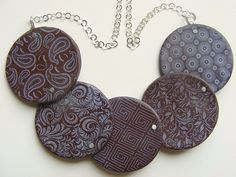 Vera Kleist - Brown is the new black    Polymer Clay, Fimo, Silver chain, acrylic paint in mother-of-pearl
