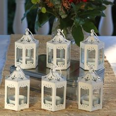 "Ophelia & Co. 6 Piece 5.5"" Glass Tabletop Lantern & Reviews   Wayfair Shabby Chic Lanterns, Rustic Lanterns, White Lanterns, Vintage Lanterns, Lanterns Decor, Decorative Lanterns For Weddings, Lantern Centerpiece Wedding, Wedding Lanterns, Outdoor Wedding Centerpieces"