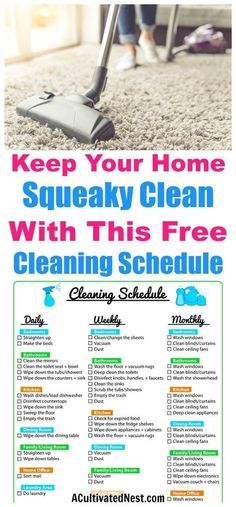 Weekly Cleaning Schedule Printable- FREEGet super organized with this pretty and easy to use cleaning schedule printable. It is a weekly cleaning schedule but also lists daily, biweekly and monthly tasks. Deep Cleaning Tips, House Cleaning Tips, Cleaning Solutions, Cleaning Hacks, Household Cleaning Schedule, Diy Hacks, Spring Cleaning Checklist, Cleaning Routines, Cleaning Products