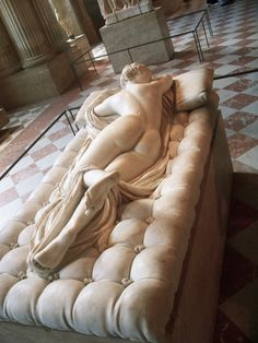 "Hermaphroditus by Bernini. Louvre, Paris. The ""fabric"" really looks real in person. It is stunning. She looks real, you get the feeling she will move."
