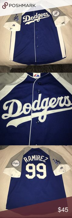 Los Angeles Dodgers Majestic Manny Ramirez Jersey Size:Large. Has minor imperfections in threading. Not very noticeable. All numbers,letters, and patches are stitched on. Majestic Other