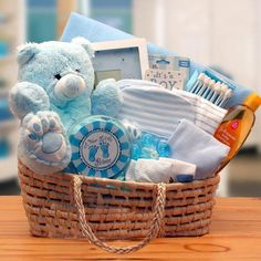 Welcome a new baby boy with a great new baby gift basket from Corner Stork Baby Gifts!