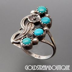 Native American Vintage Roy Buck Navajo Sterling Silver Turquoise Flor – Gold Stream Boutique