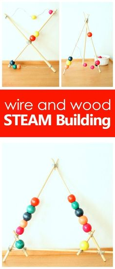 wire and wood STEAM Building-great for maker space activities, collaborative projects or after school activities