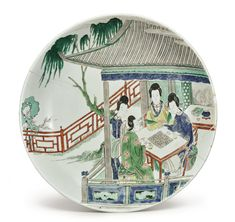 A famille-verte 'Ladies' dish, Kangxi mark and period - Alain. Antique Plates, Chinese Ceramics, Chinese Antiques, Pottery Bowls, Chinese Art, Chinoiserie, Asian Art, White Ceramics, Modern Art