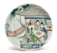 A famille-verte 'Ladies' dish, Kangxi mark and period - Alain. Tea Art, Chinese Ceramics, Pottery Bowls, Chinese Antiques, Chinese Art, Chinoiserie, Asian Art, Modern Art, Glass Art
