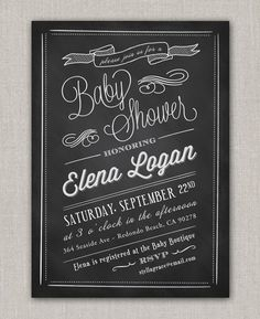 Chalkboard Baby Shower Invitation by announcingyou on Etsy