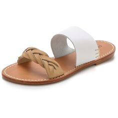 Soludos Braided Slide Sandals ($89) ❤ liked on Polyvore featuring shoes, sandals, white, white sandals, leather sandals, leather shoes, slip-on shoes and white shoes