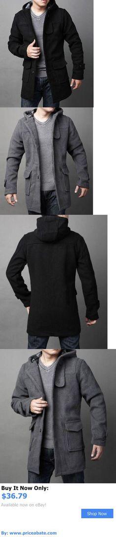 Men Coats And Jackets: Mens Wool Blend New Winter Fashion Casual Jacket Coat Hooded Outwear Overcoat BUY IT NOW ONLY: $36.79 #priceabateMenCoatsAndJackets OR #priceabate
