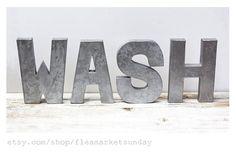 Metallic WASH letters Laundry Room Decor  Faux by FleaMarketSunday