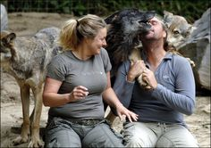 Shaun Ellis and his three wolves