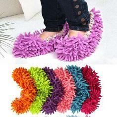 1 Pair Mop Slippers Floor Polishing Cover Cleaner Clean Dusting Foot Sock Shoes #Ebay - R$5,41