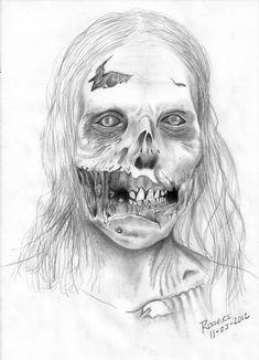 The Walking Dead by Rogers-player on DeviantArt Zombie Drawings, Scary Drawings, Dark Art Drawings, Halloween Drawings, Walking Dead Makeup, The Walking Dead Tattoos, Walking Dead Art, Arte Horror, Horror Art