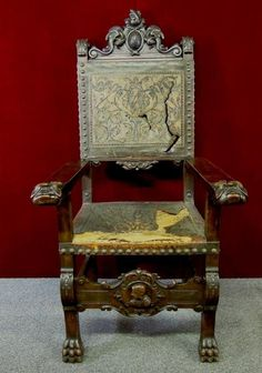 d7572117129b8 Antique Regal Gothic Throne Chair Coat Of Arms Figural Head RARE Throne  Chair