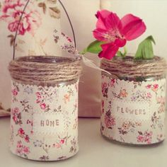 Shaby chic Crafts With Glass Jars, Mason Jar Crafts, Bottle Crafts, Tin Can Crafts, Diy Arts And Crafts, Diy Crafts, Mason Jars, Bottles And Jars, Craft Font
