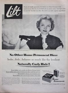 1951 Print ad PROCTOR AND GAMBLE LILT HOME PERMANENT WAVE PRETTY WOMAN