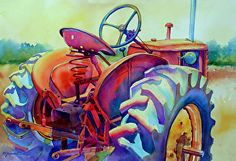 Watercolor painting_ BORN TO PLOW_Mary Shepard original_old tractor painted in bright, happy colors on 16 x 21 Arches watercolor paper. www.maryshepard.com