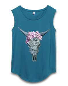 Womens Boho Bull Skull / Cow Skull / Buffalo Skull/ Roses / Cap Sleeve T-Shirt tee tank Top retro vintage yoga festival clothing fashion Image is