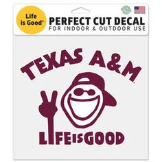 "Texas A&M Aggies WinCraft 8"" x 8"" Life Is Good Perfect Cut Decal"