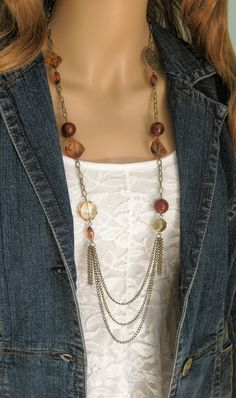 Long Brown Beaded Multi Strand Necklace Long by RalstonOriginals