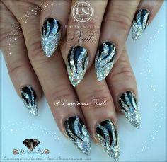 Luminous Nails: Holographic Silver & Black Nails...