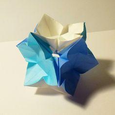 February 11th 2015 Origami IvaMia kusudama I made today. #origami #kusudama #ivamia #paper #folding #white #blue #diy #craft #42 #flower